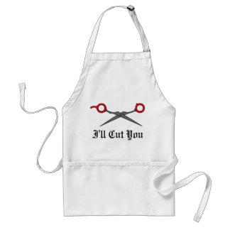 I'll Cut You (Red Hair Cutting Scissors) Adult Apron