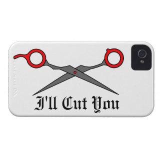 I'll Cut You (Red Hair Cutting Scissors) iPhone 4 Case-Mate Case