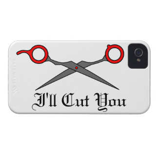 I'll Cut You (Red Hair Cutting Scissors) iPhone 4 Case