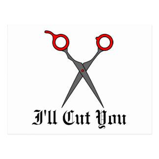 I'll Cut You (Red Hair Cutting Scissors) Postcard