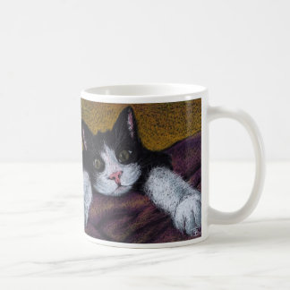 I'll get ya! tuxedo kitten mug by Tanya Bond