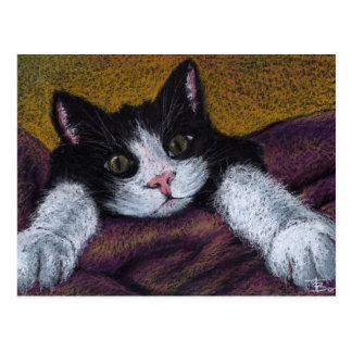 I'll get ya! tuxedo kitten postcard by Tanya Bond
