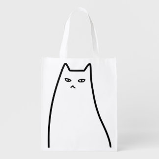 < Ill-humored cat > Sullen cat Reusable Grocery Bag