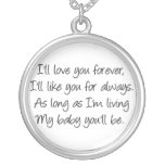 I'll love you forever round pendant necklace
