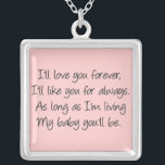 """I&#39;ll love you forever silver plated necklace<br><div class=""""desc"""">Birth mom created Unique adoption Gifts: http://zazzle.com/birthmoms* email: info@birthmommissions.com http://facebook.com/adoptionsupport Changing the face of adoption, Cherishing life, &amp; Supporting women... one birth mom at a time!! Birth mom, first mom, or any mom u like to be called! This page is for YOU to share, give &amp; get support. BE yourself!...</div>"""