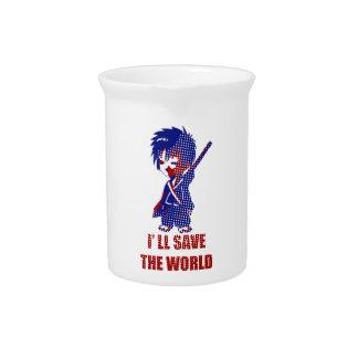 I'll Save The World Samurai Boy Drink Pitcher