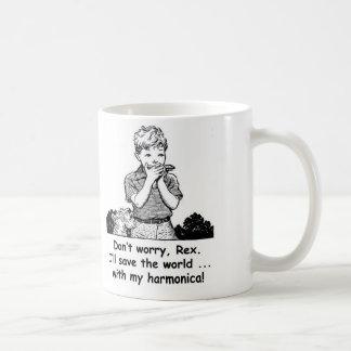 I'll save the world ... with my harmonica! coffee mug