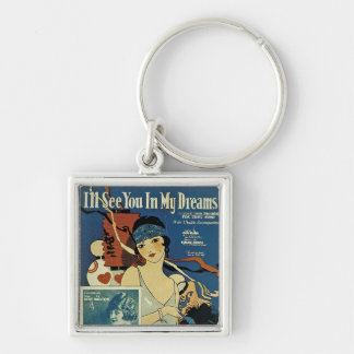 """""""I'll See You In My Dreams"""" Silver-Colored Square Keychain"""