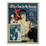 I'll See You In My Dreams Vintage Songbook Cover Poster