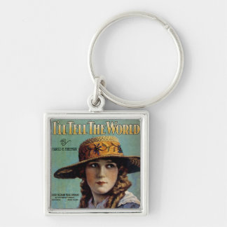 I'll Tell The World Silver-Colored Square Keychain