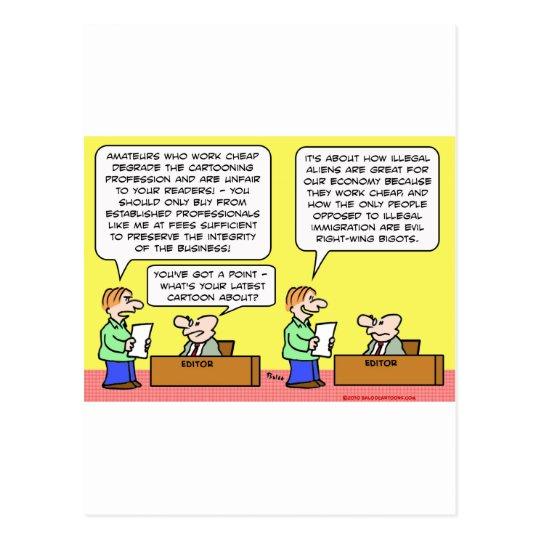 illegal aliens cartoonists postcard