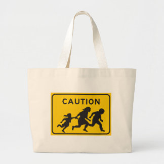 Illegal Aliens Crossing Highway Sign Canvas Bags