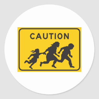 Illegal Aliens Crossing Highway Sign Classic Round Sticker