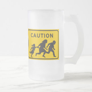 Illegal Aliens Crossing Highway Sign Frosted Glass Beer Mug
