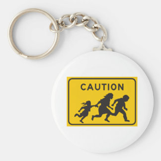 Illegal Aliens Crossing Highway Sign Keychain