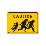 Illegal Aliens Crossing Highway Sign Post Cards