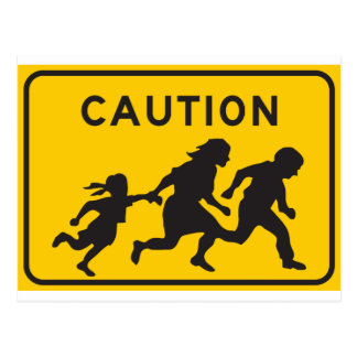 Illegal Aliens Crossing Highway Sign Postcard