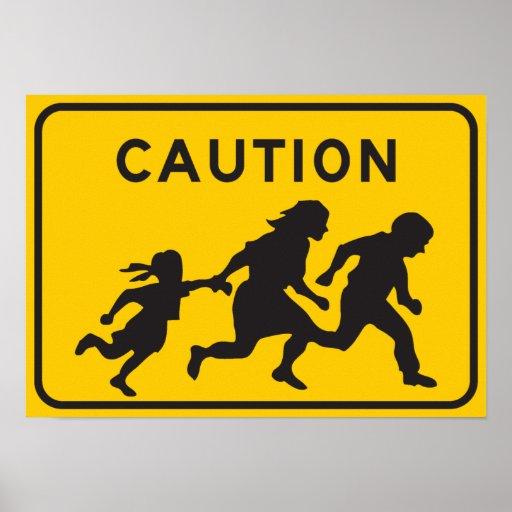 Illegal Aliens Crossing Highway Sign Print