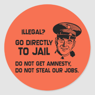 Illegal Go Directly to Jail Round Sticker