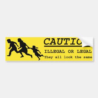 Illegal or Legal Alien Crossing Bumper Sticker