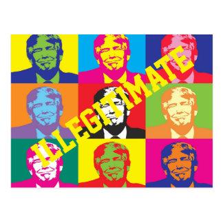 """""""Illegitimate""""  with Rainbow Colored Trump Faces Postcard"""