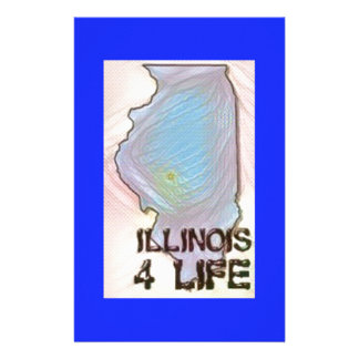 """""""Illinois 4 Life"""" State Map Pride Design Stationery"""
