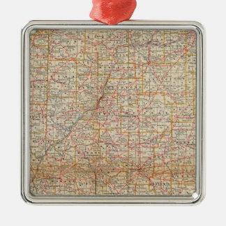 Illinois 5 square metal christmas ornament