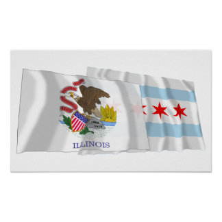 Illinois and Chicago Flags Poster