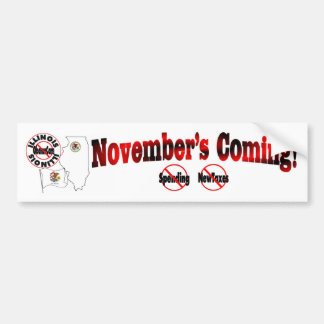 Illinois Anti ObamaCare – November's Coming! Bumper Sticker