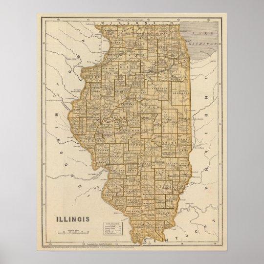 Illinois Atlas Map Poster
