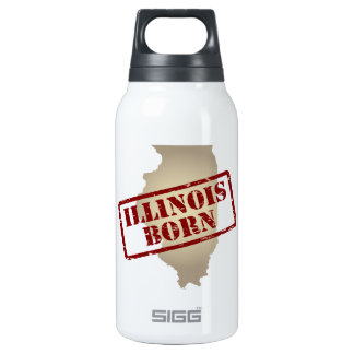 Illinois Born - Stamp on Map Insulated Water Bottle