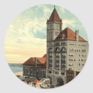 Illinois Central Depot Chicago Repro Vintage 1913 Classic Round Sticker