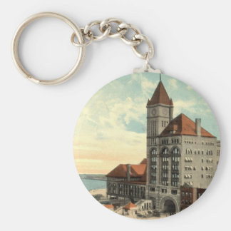 Illinois Central Depot Chicago Repro Vintage 1913 Keychain