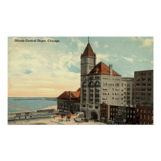Illinois Central Depot Chicago Repro Vintage 1913 Poster