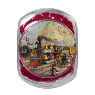 Illinois Central Railroad Glass Candy Jars