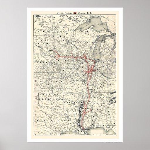 Illinois Central Railroad Map 1892 Poster