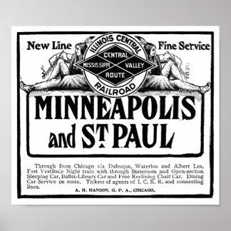 Illinois Central Railroad Vintage Poster