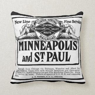 Illinois Central Railroad Vintage Throw Pillows