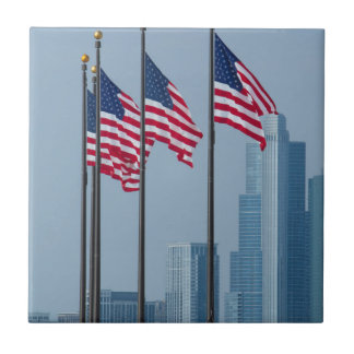 Illinois, Chicago. El embarcadero de la marina de Azulejo Cuadrado Pequeño