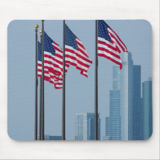 Illinois, Chicago. Navy Pier, US flags flying Mouse Pad