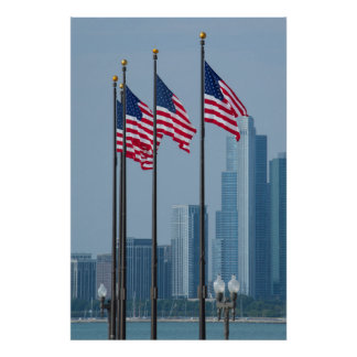 Illinois, Chicago. Navy Pier, US flags flying Poster