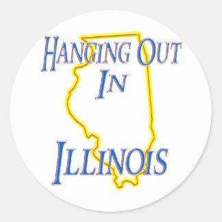 Illinois - colgando hacia fuera etiqueta redonda