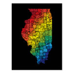 illinois color counties postcard