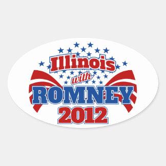 Illinois con Romney 2012 Colcomanias Oval Personalizadas