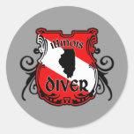 Illinois Diver Round Sticker