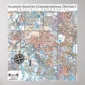Illinois Eighth Congressional Precinct Map (IL-08) Posters