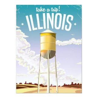 Illinois farm vintage travel poster card