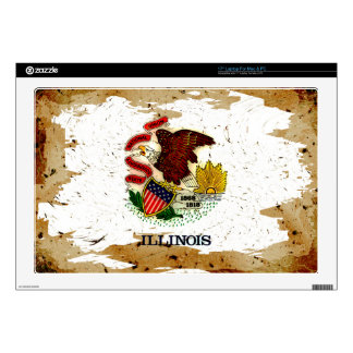 """ILLINOIS FLAG DECAL FOR 17"""" LAPTOP"""