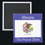 """Illinois Flag Magnet<br><div class=""""desc"""">An authentic premium quality image of the flag of Illinois set between the state name and nickname over a flag-color background.</div>"""