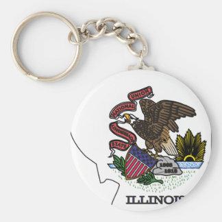 Illinois Flag Map Keychain